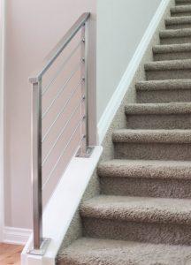 short horizontal handrail down steps
