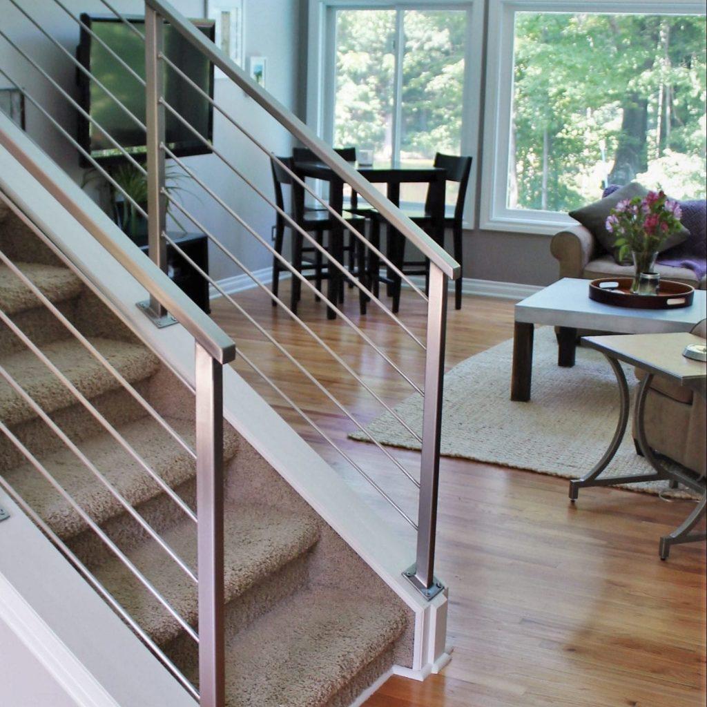 modern stainless steel handrail at interior steps
