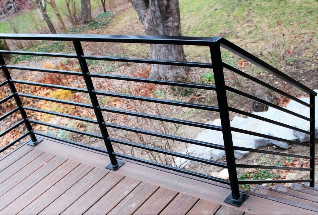 horizontal bars black metal deck rail