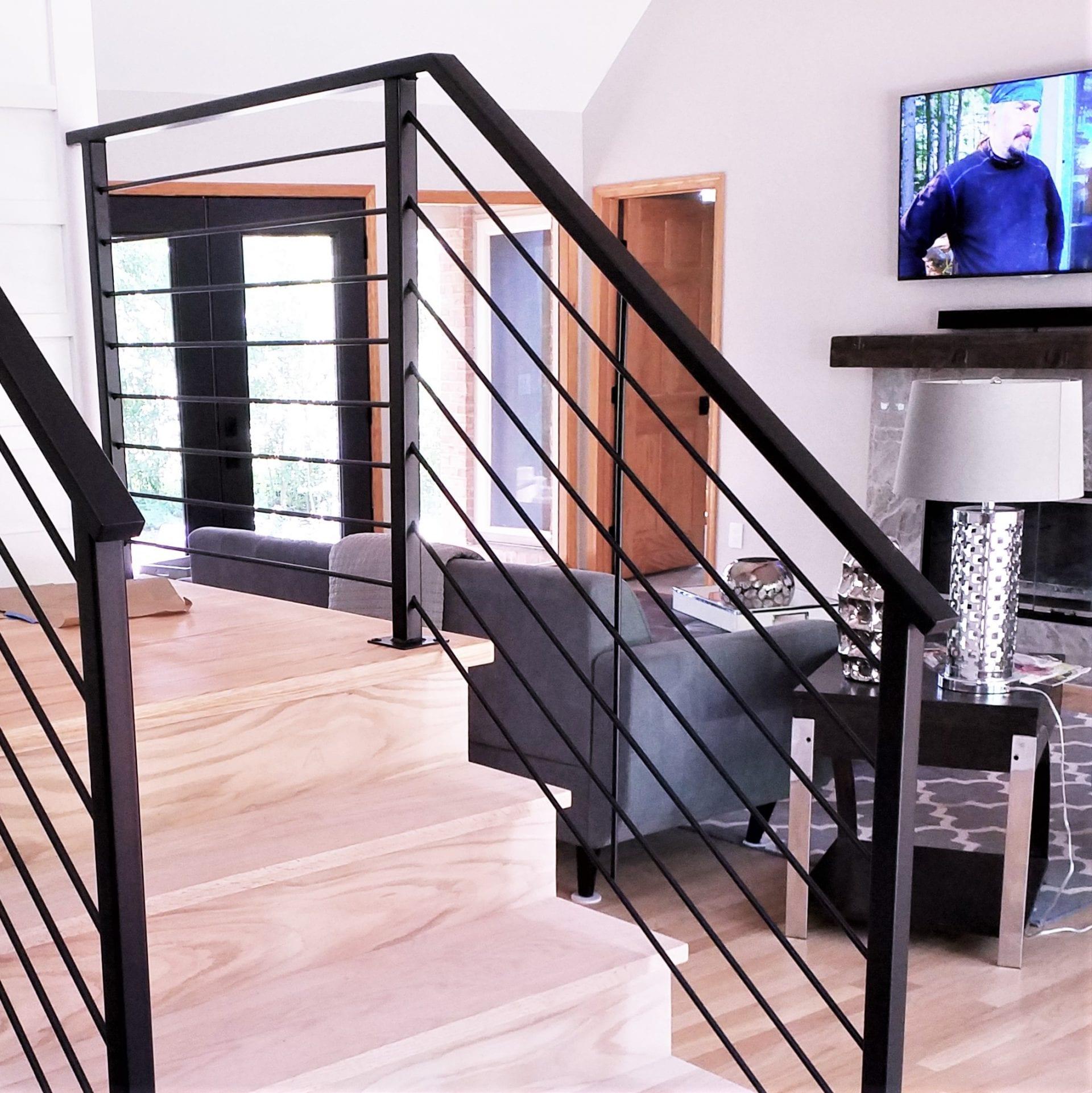 Matte Black Horizontal Rail for Interior Stairs - Great ...