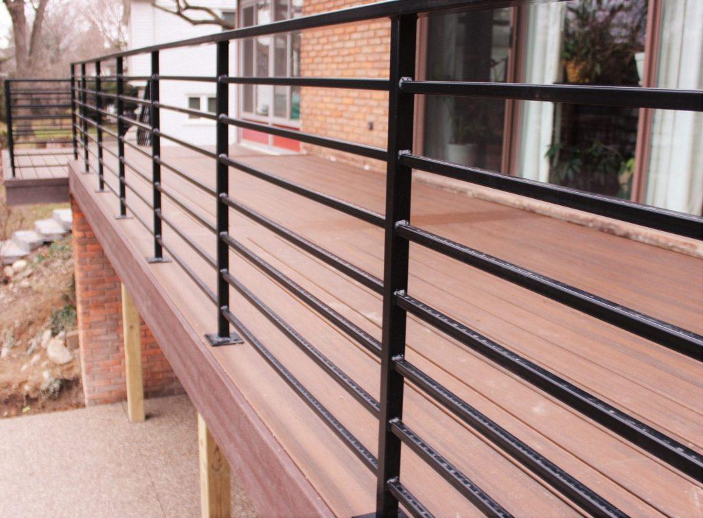 wood deck with horizontal metal railing