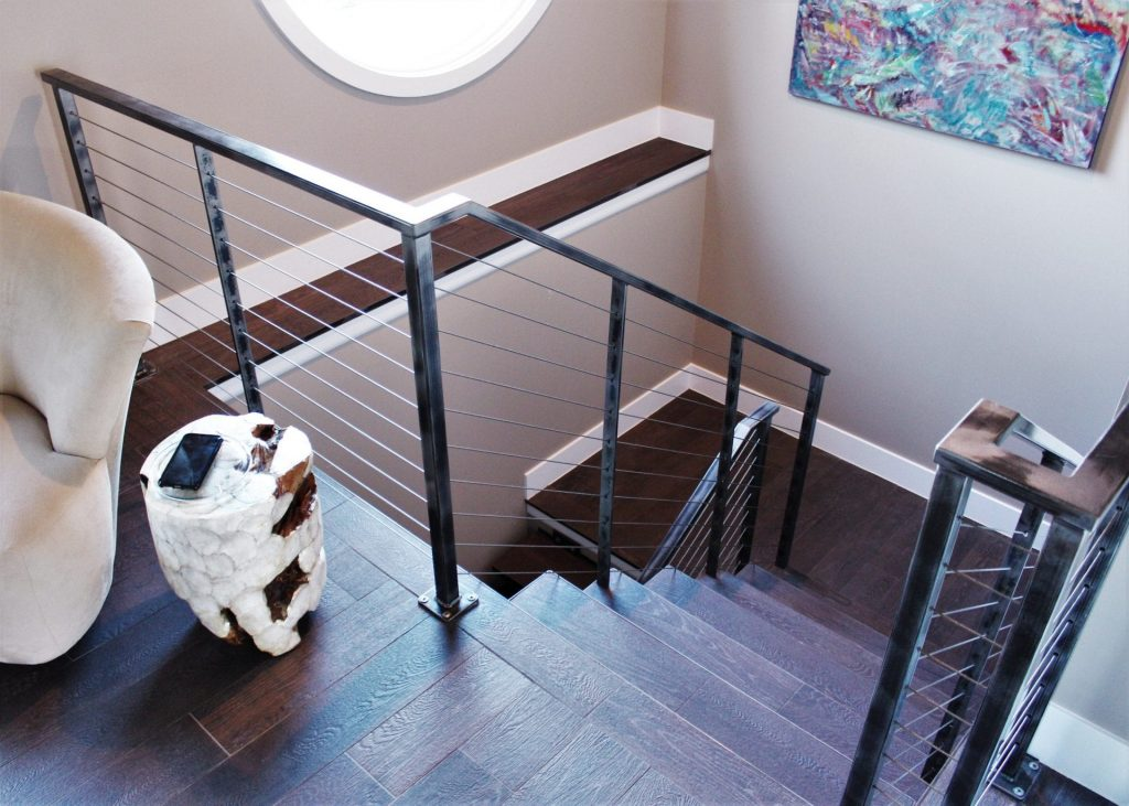 wood floor contemporary interior industrial raw metal-horizontal steel cable rail stair railing floating staircase treads custom
