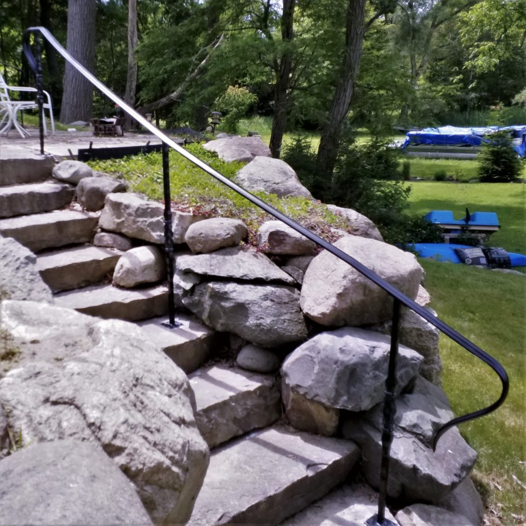 wrought iron landscape rail stone steps decorative forged steel lake house stairs safe step handrail