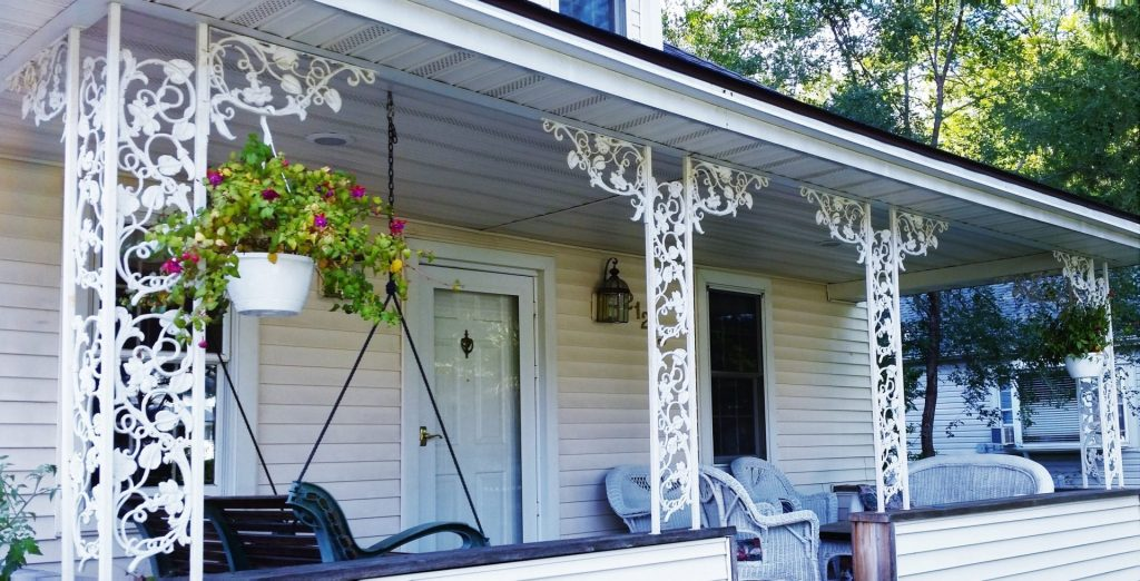 white floral ornamental iron porch columns steel posts powder coated metal supports