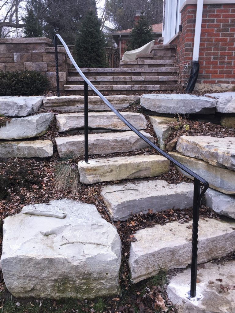 landscaping steps curved metal handrail stone stairs decorative rail steel top twisted posts hardscape wrought ironr railing