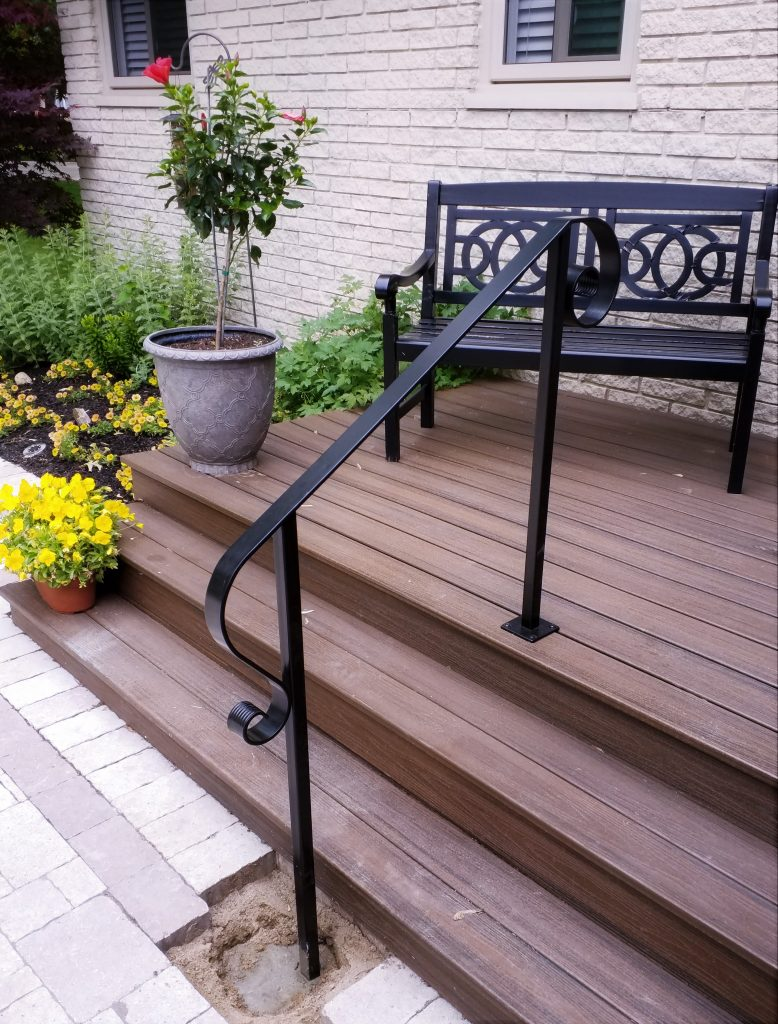 simple porch handrail metal flat top curved lambstongue ends square posts rail step railing exterior cost per foot installed residential brick ranch home wood deck stairs