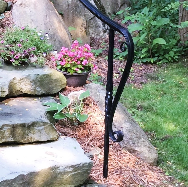 stone landscaping steps slip fall hazard residential metal stair handrail curved ends decorative wrought iron posts safe railing cost per foot installed