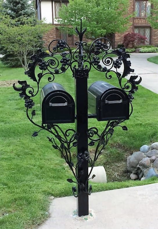wrought iron ornamental mailbox stand post fancy double box custom metal fabrication gloss black front yard traditional brick home handforged steel design artistic ironwork