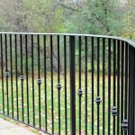 classic black wrought iron rails knuckle collar detail curved paver patio railing cost per foot installed