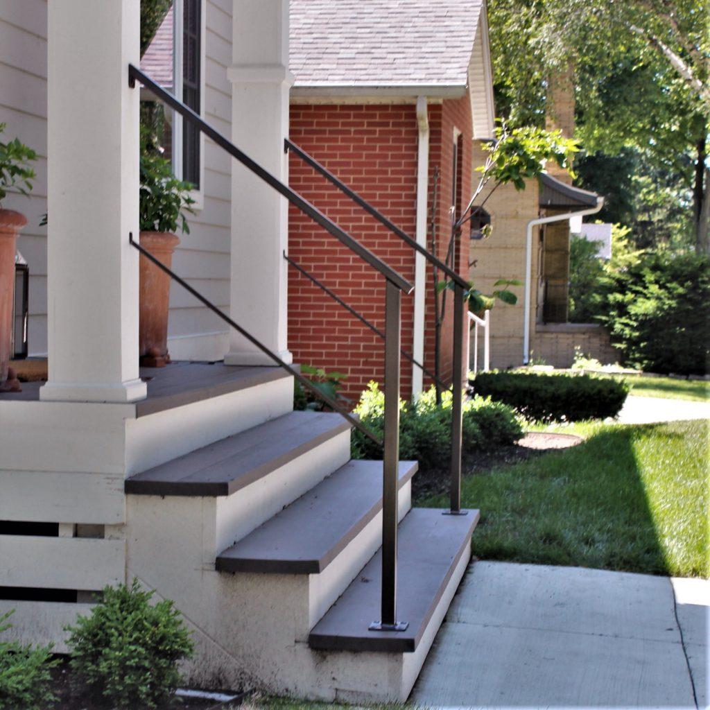 exterior metal porch railing covered columns aluminum rail cottage steps