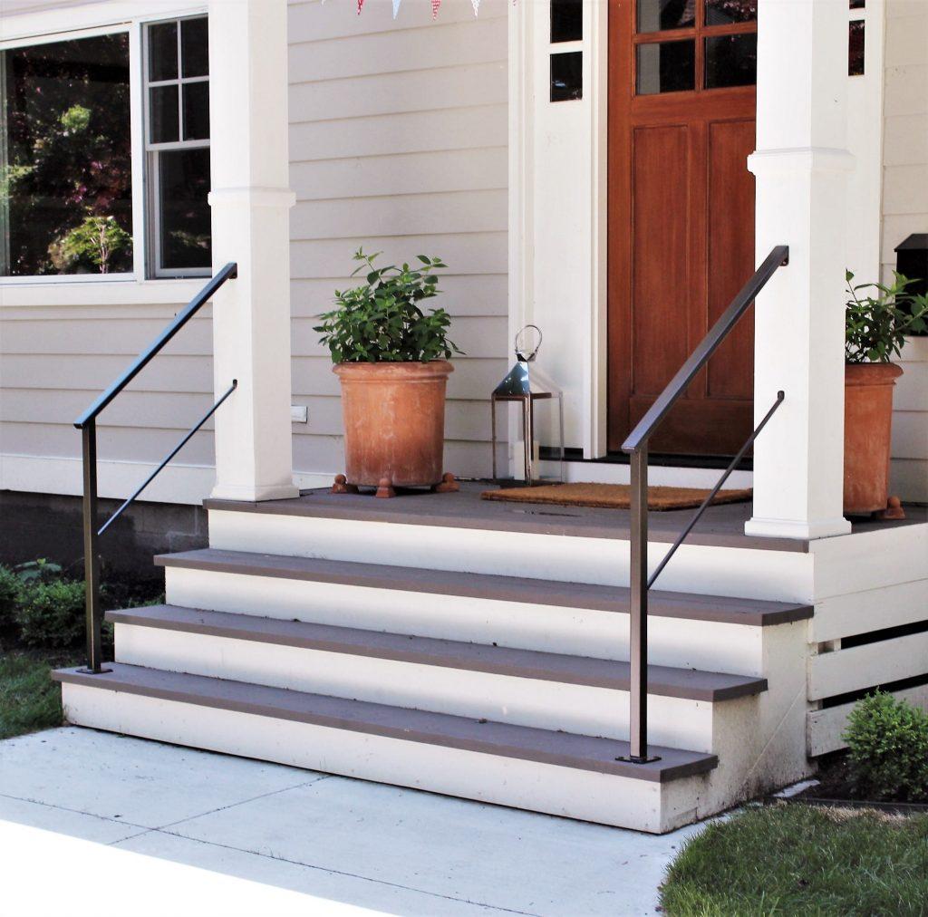 exterior metal porch railing oil rubbed bronze covered columns aluminum rail cottage steps