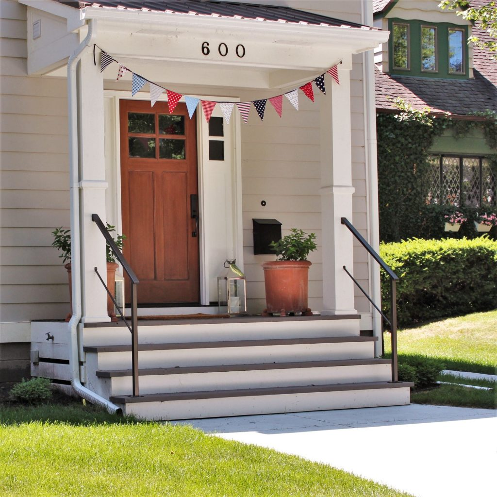 exterior metal porch railing covered columns aluminum rail cottage steps 4th of july fabric banner