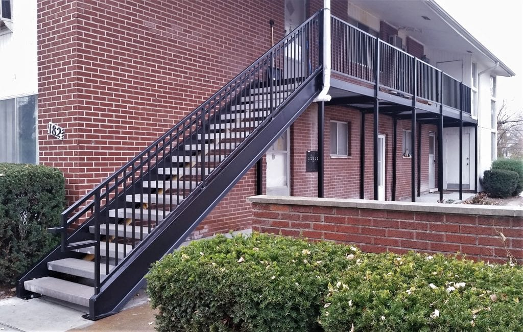 apartment staircase walkway new metal stairs apartment living concrete treads wrought iron railing galvanized steel apartment stairs