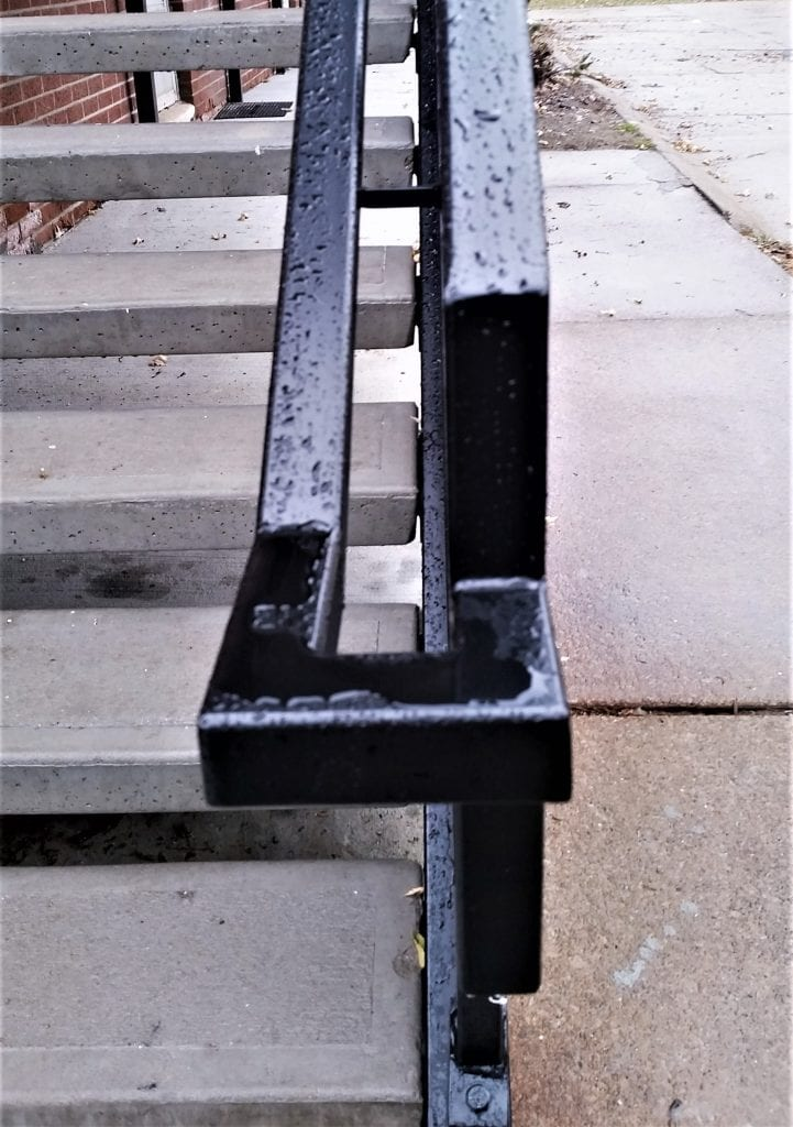 apartment staircase walkway new metal stairs apartment living concrete treads wrought iron railing galvanized steel apartment handrail