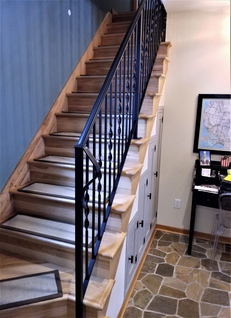 interior twisted wrought iron railing twisted pickets twist spindles metal stair railing wood treads metal handrail wall-mounted