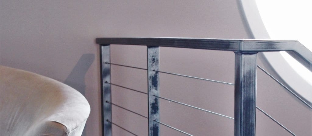 raw steel cable rail rustic industrial metal railing clear coat railing and posts