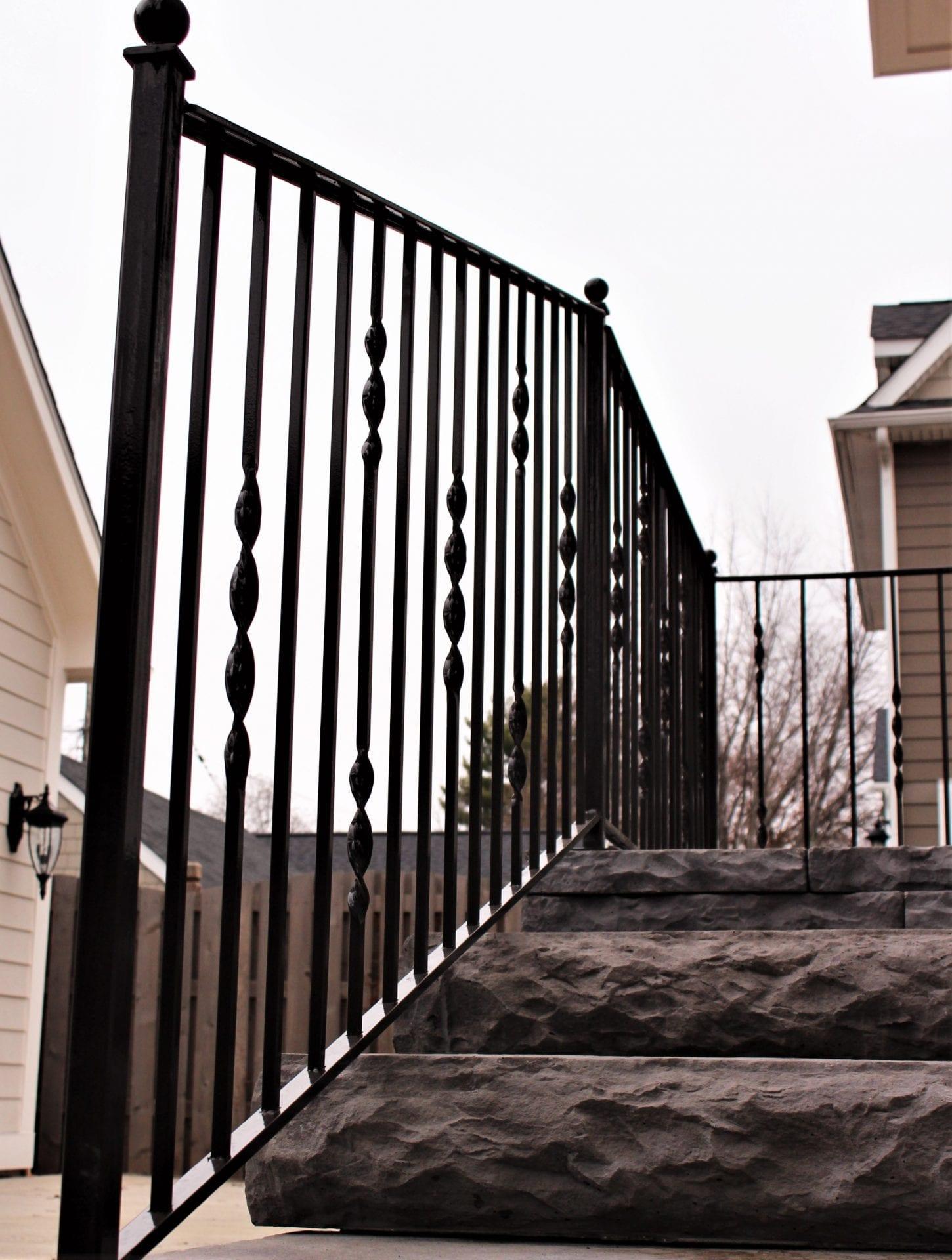 Ribbon Twist Metal Porch Rail - Great Lakes Metal Fabrication