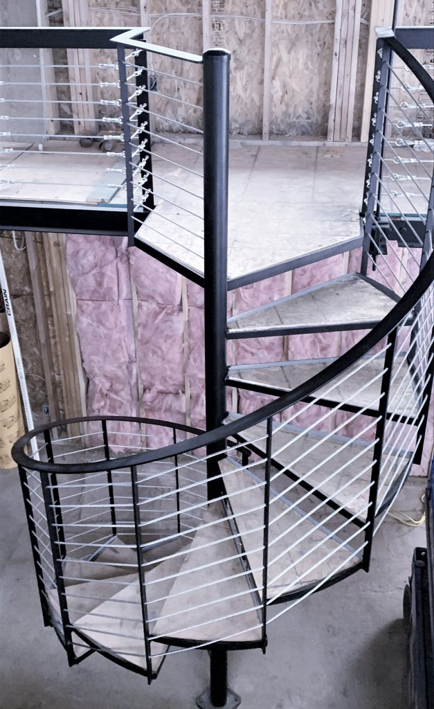 stainless steel cable rail spiral stair metal staircase spiralstairs iron railing wood treads cablerailing cost per foot mezzanine guardrail