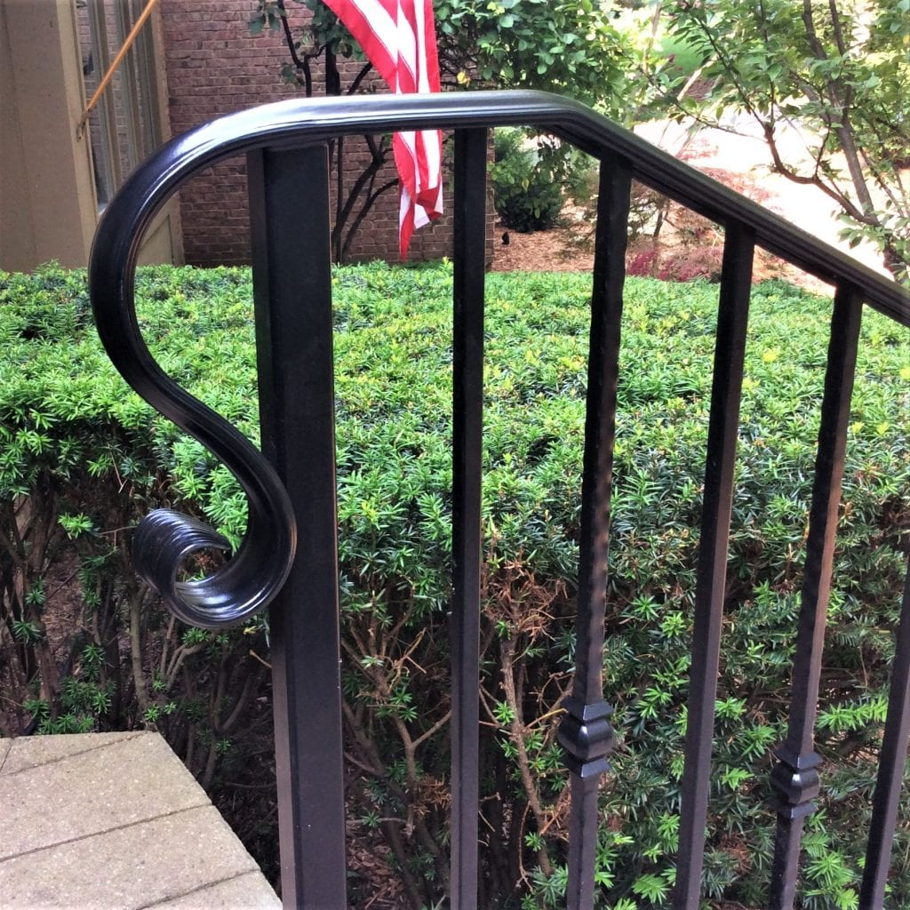 traditional wrought iron step rail front porch metal railing rod iron curved end metal post scaled