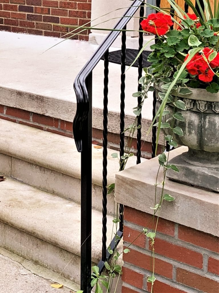 wought iron porch rail metal step railing twisted pickets curb appeal new railing