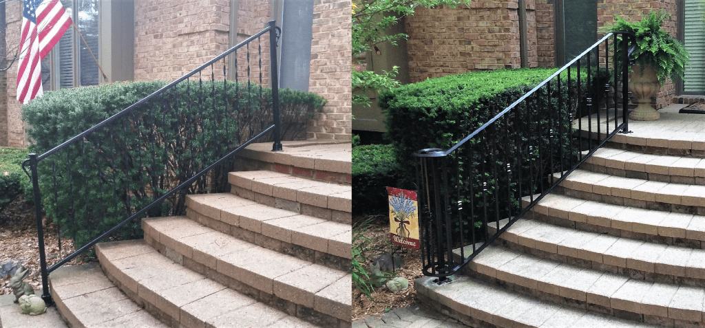 wrought iron railing before after metal rail porch steps