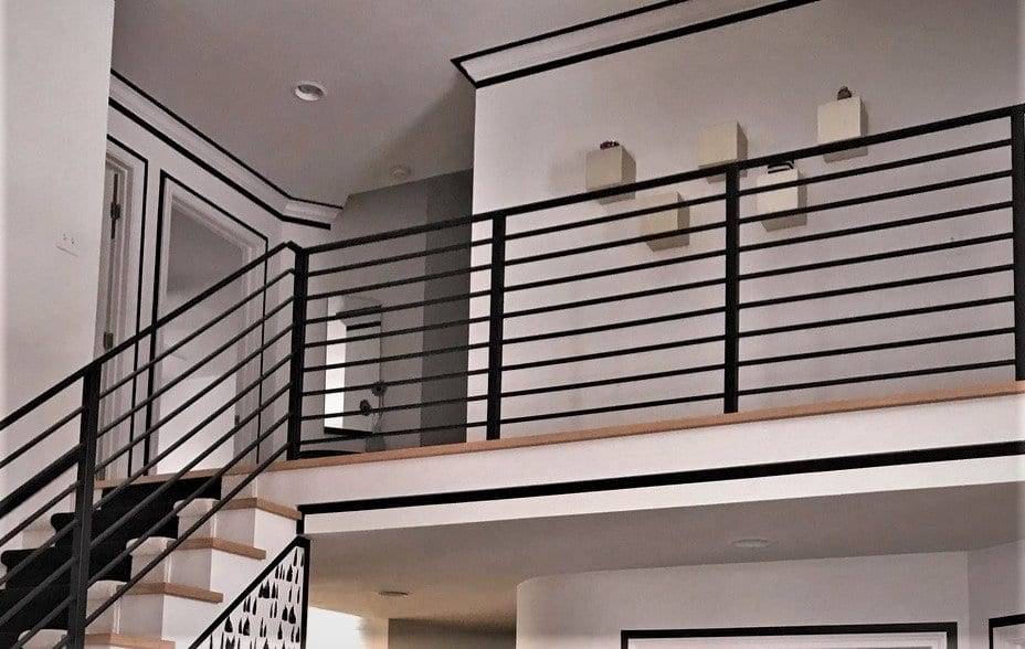 horizontal metal railing black and white interior rod railing wrought iron step rail railing contractor michigan