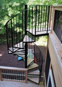 cedar deck wrought iron spiral metal railing cedar wood treads plymouth michigan stair contractor wood deck