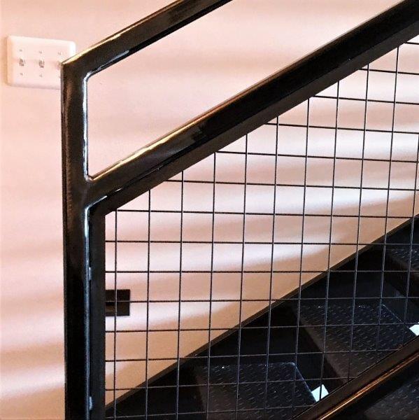 commercial stair stringers industrial steel stairs metal mesh guardrail metal railing straight steel staircase chic willis lofts willys overland detroit loft