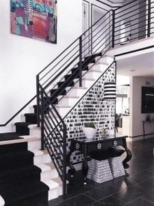 horizontal metal railing black and white interior rod railing wrought iron step rail railing contractor michigan