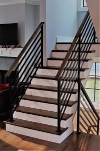 flat bars horizontal metal railing interior stair rail step rail walnut wood handrail contractor michigan pottery barn