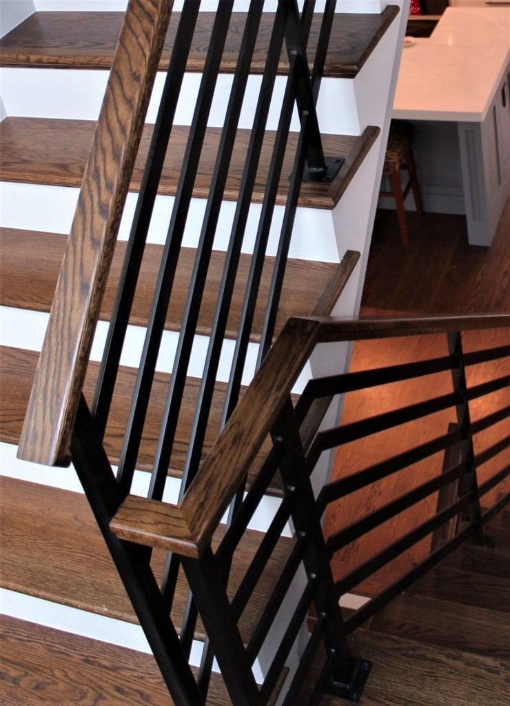 flat bars horizontal metal railing interior stair rail step rail walnut wood handrail contractor michigan pottery barn