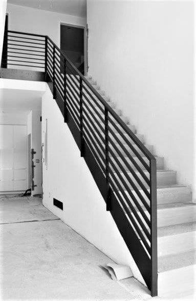 stair rail horizontal metal railing flat bar wrought iron handrail modern metal railing interior step rail custom railing contractor michigan