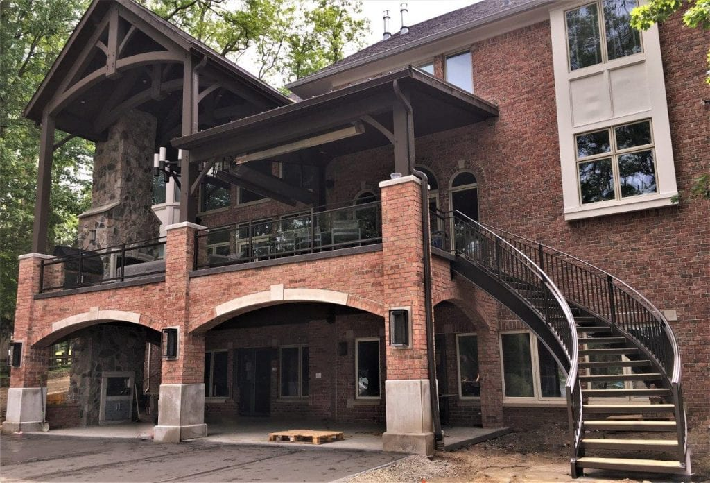 curved metal staircase wrought iron deck rail lakeview brick terrace curved stairs steel stringers metal railing backyard
