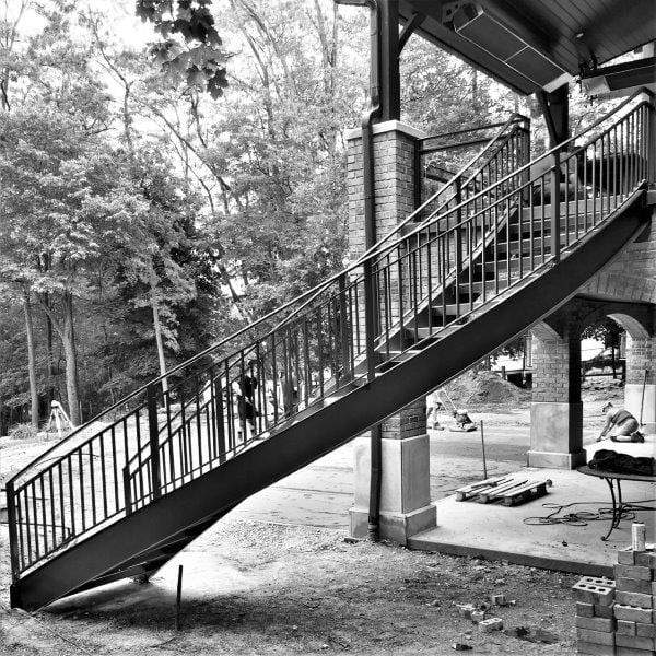 curved metal staircase wrought iron deck rail lakeview brick terrace curved stairs steel stringers metal railing