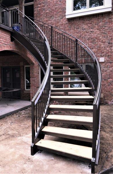 curved metal staircase wrought iron deck rail lakeview brick terrace curved stairs steel stringers metal railing amazing stairs