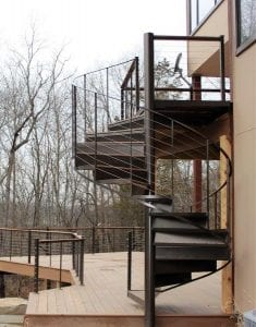 spiral staircase for wood deck metal spiral stair ipe treads stainless steel cable rail spiral Jesus is Lord