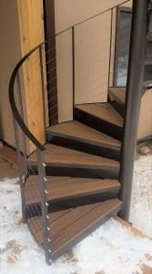 spiral staircase for wood deck metal spiral stair ipe treads stainless steel cable rail spiral