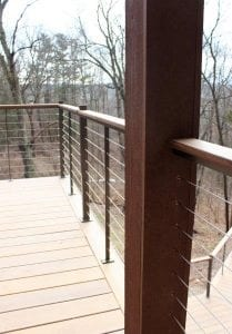 Ipe wood deck metal spiral stair ipe treads stainless steel cable rail Jesus is Lord