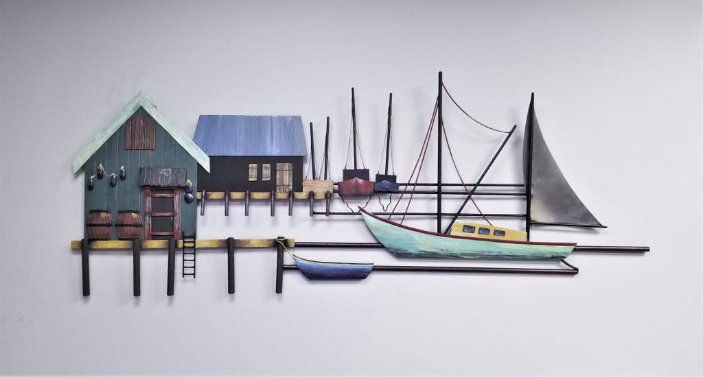 3d painting metal wall hanging relief sculpture sailboats east coast harbor painting massachussets connecticut harbor artwork