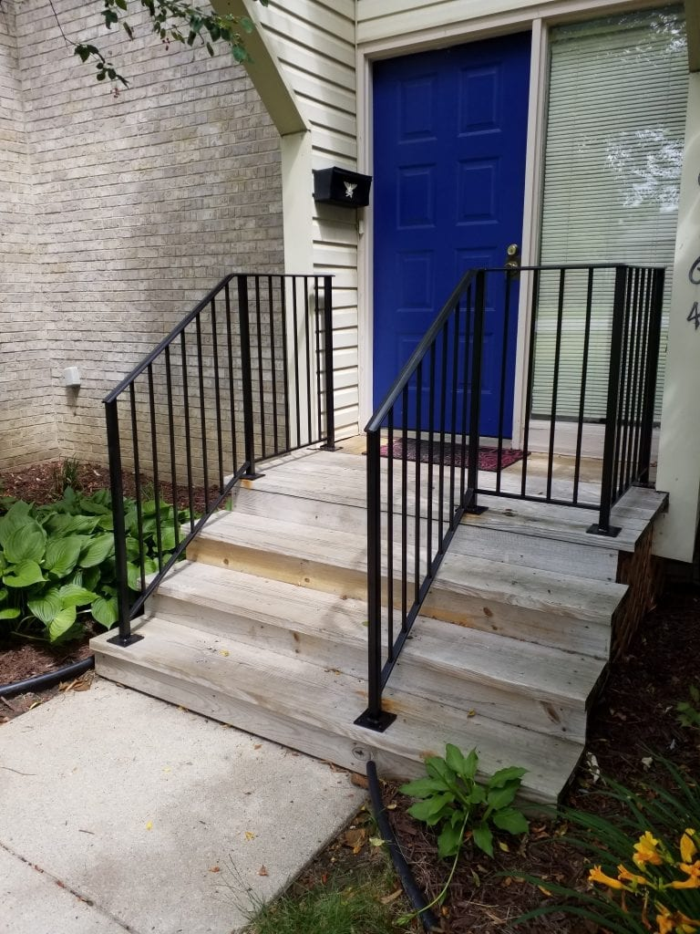 wrought iron porch rail vertical pickets spindles black metal porch railing