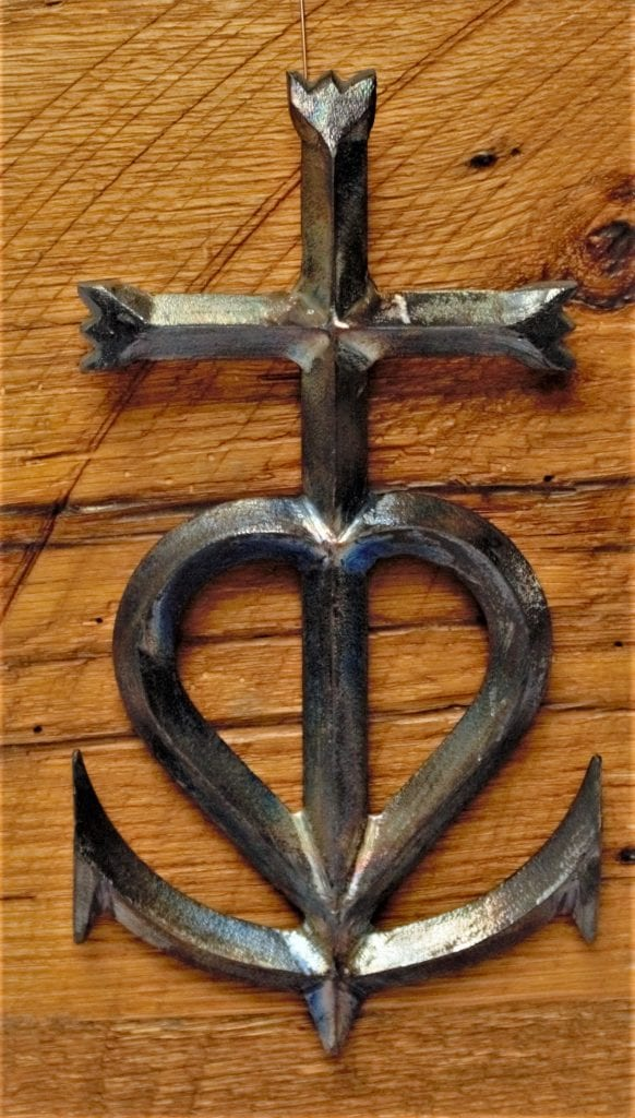 camargue cross heart anchor faith hope love metal cross rustic industrial metal patina clear coat steel french cross