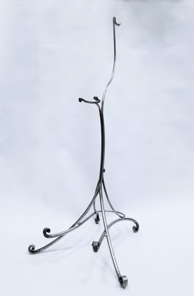 decorative steel violin stand custom metal work wrought iron scroll hammered metal instrument stand fancy music stand