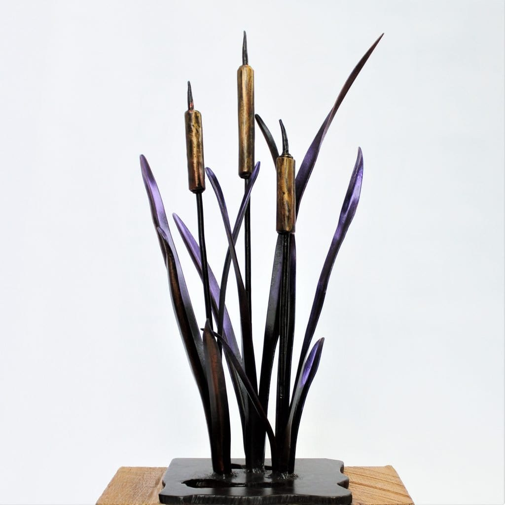 wrought iron cattails sculpture metal painted purple gold fine art ironwork table top garden ornaments background