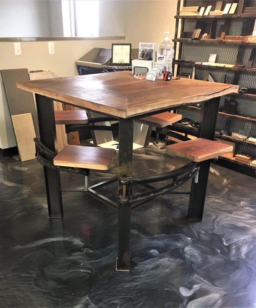wood metal bar table swing seats industrial rustic metal table ibeam table rustic wood top bar stool seating