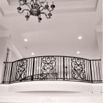 Classic wrought iron curved stair rail, tuscan scroll metall railing