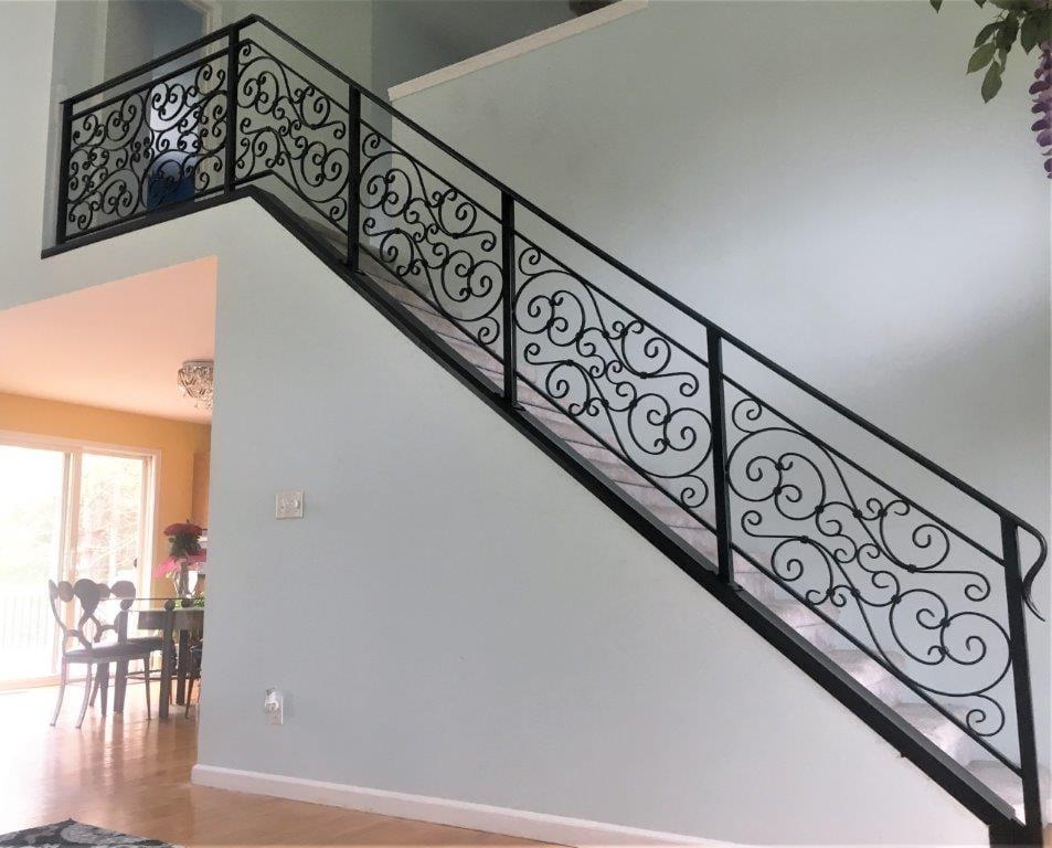 wrought iron metal scroll railing
