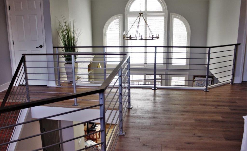 Interior stainless steel look-alike silver coated rail, horizontal metal railing, wood top handrail
