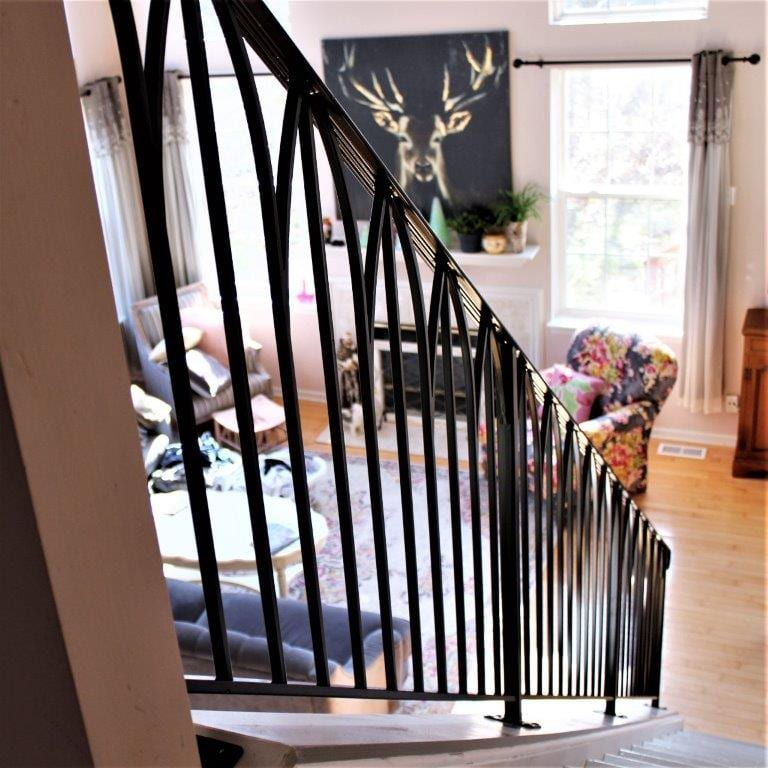 simple sophisticated metal railing metal arches railing for classy interior art deco wrought iron rail
