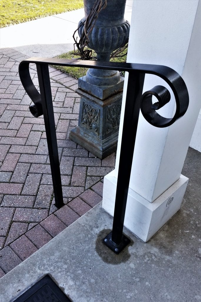 lovelace metal step rail freestanding handrails black railing scroll ends metal porch railing